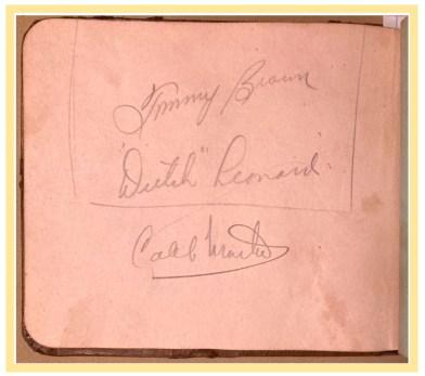 "Autographs of Emil ""Dutch"" Leonard, Tommy Brown, Caleb Martin"