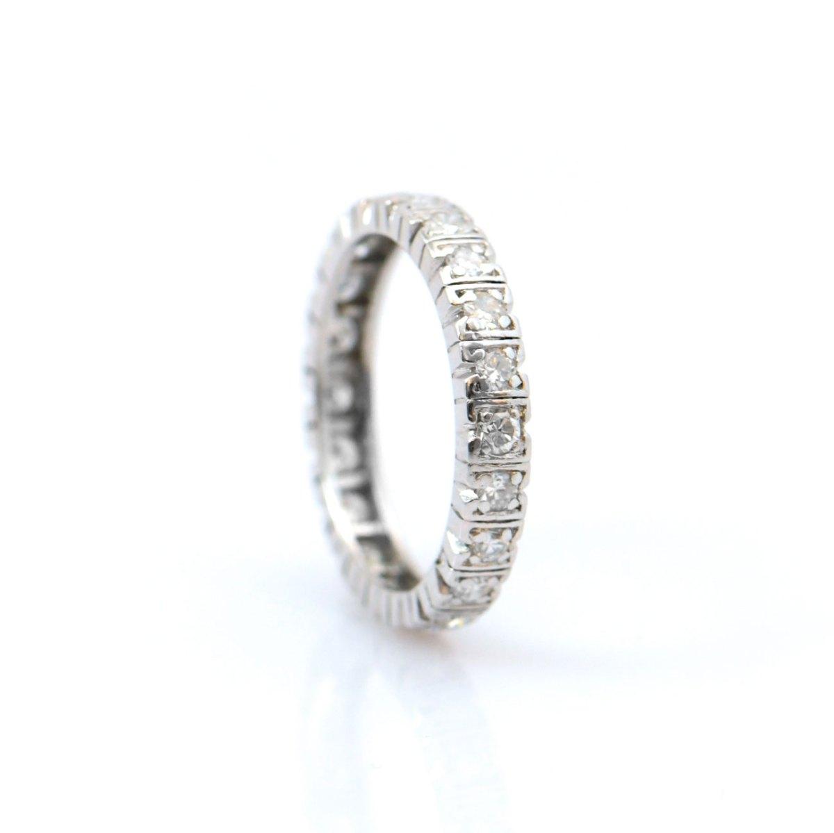 Alliance américaine diamants 0,60ct, 22 diamants taille brillant, serti griffes sur platine 950 ‰, taille 56. | Réf. BA-B13450 | EVENOR Joaillerie