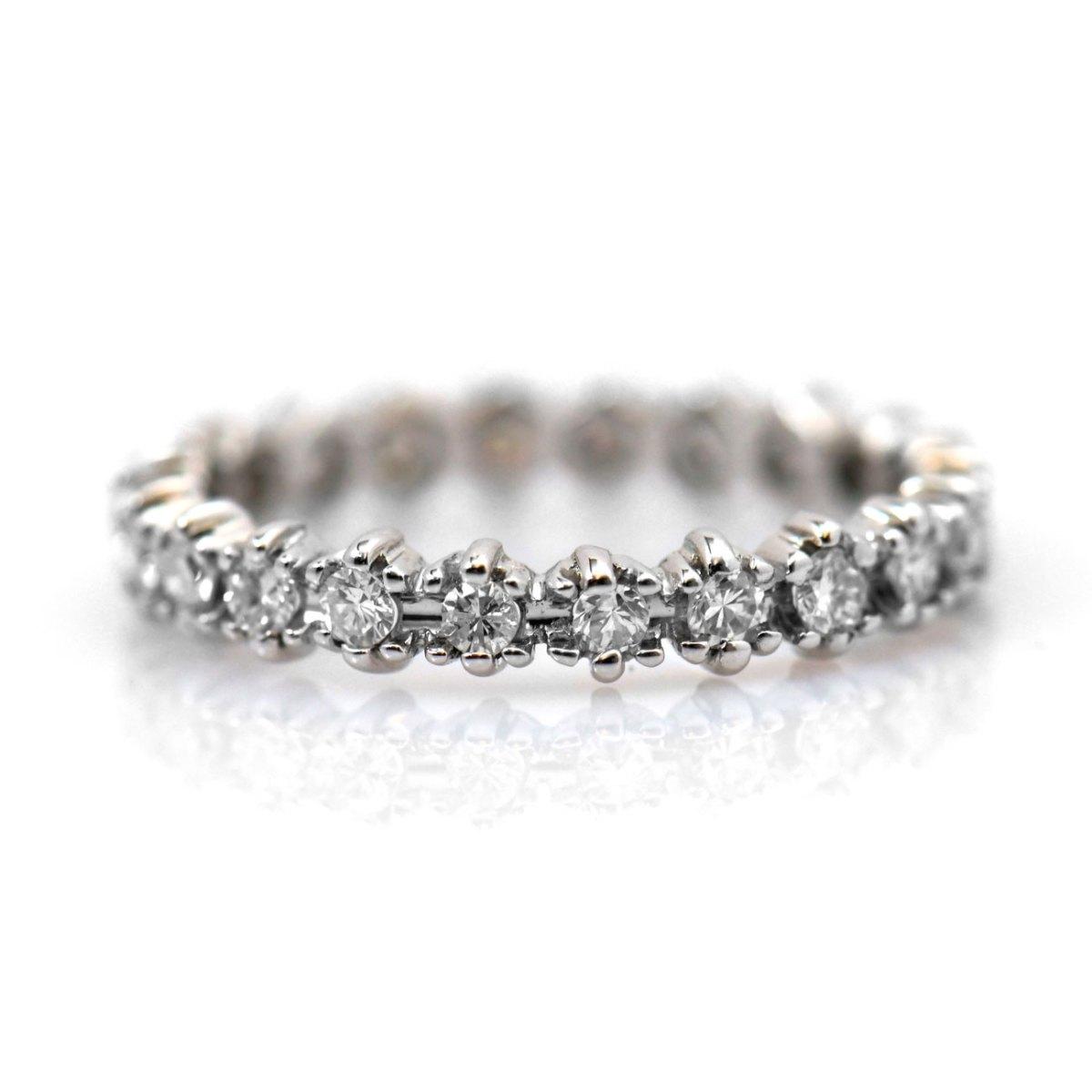 Alliance américaine diamants taille Brillant, serti griffes, or blanc | Réf. BA-B16674 | EVENOR Joaillerie • Bijoux neufs - Bijoux Vintage - Bijoux d'occasion