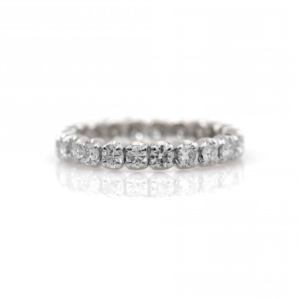 Bague alliance américaine 22 diamants 1,21ct, sertis griffes, or blanc 750 ‰ | Réf : BA-B17478 | EVENOR Joaillerie • Bijoux neufs, bijoux Vintage