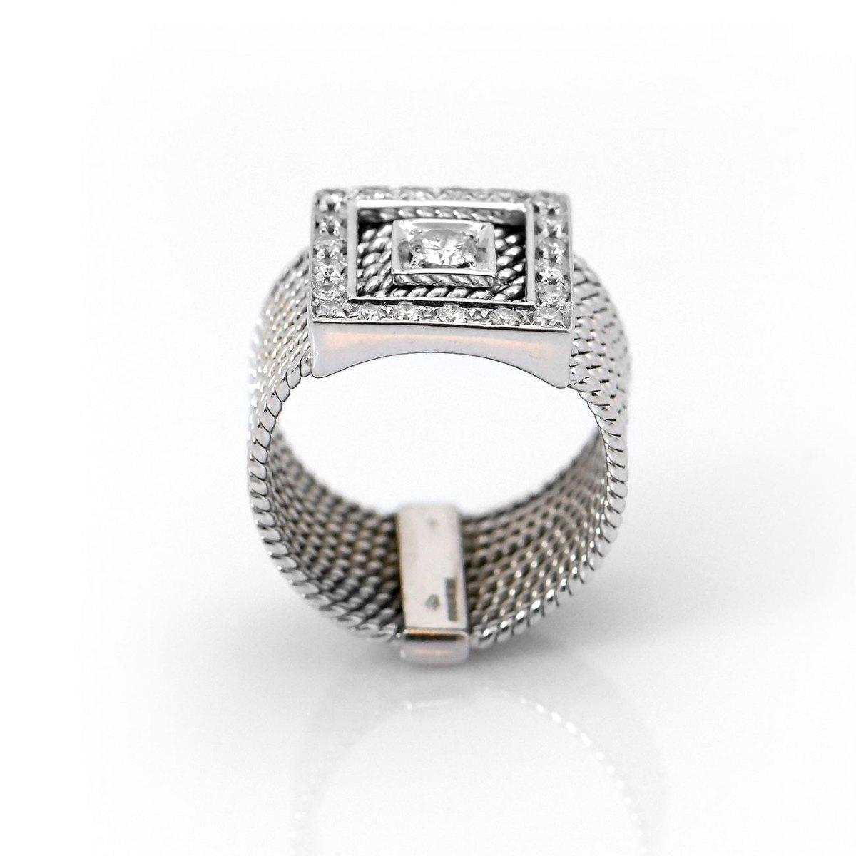 Bague Diamants Carrée 0,50 ct, Or blanc 750 ‰, serti griffes, anneaux torsadés   Référence BA-B17892  EVENOR Joaillerie • Bijoux neuf et Vintage