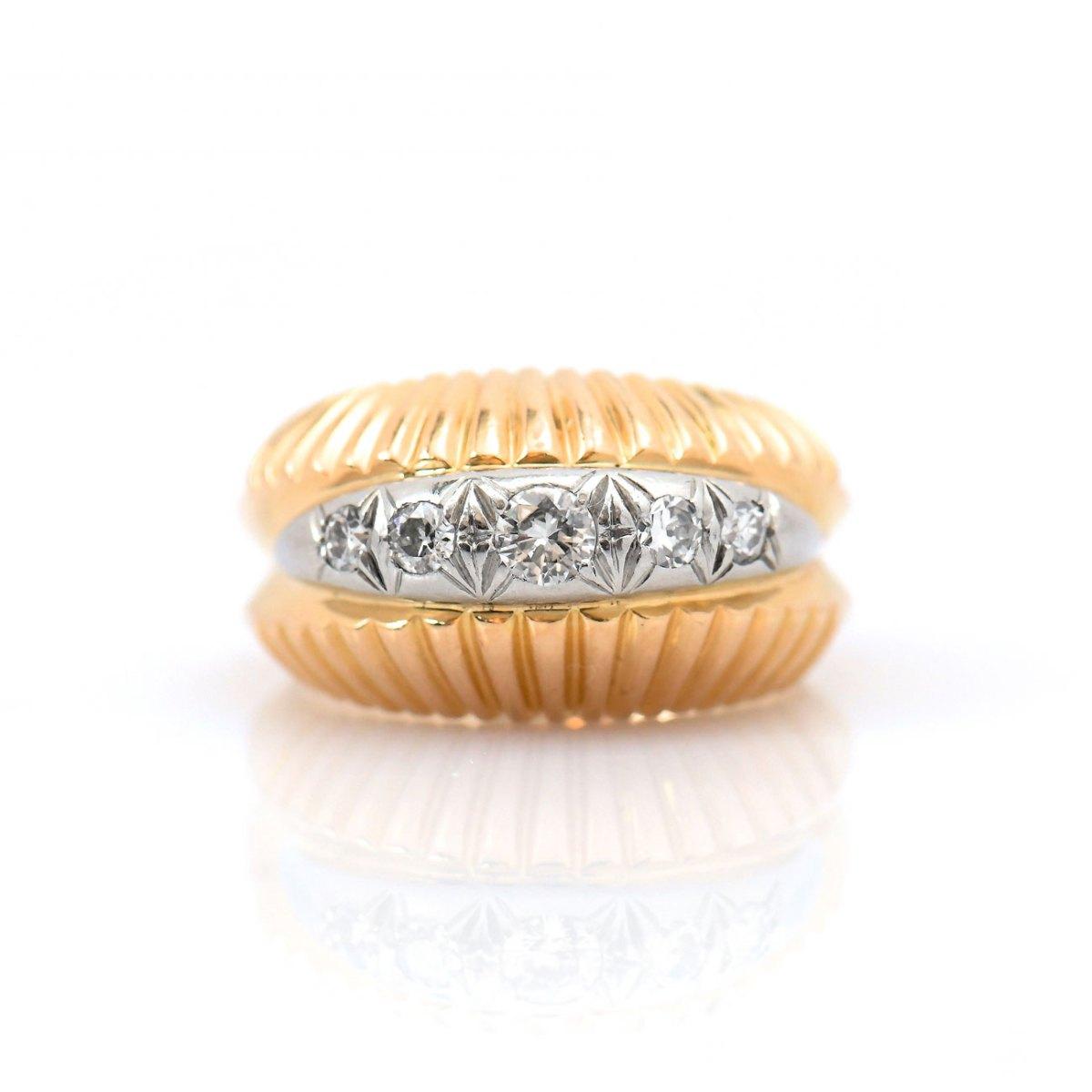 Bague diamants coquillage or jaune et platine, 5 diamants taille brillant serti griffes, or jaune et platine, taille 56/57 | Réf. BA-B18334 | EVENOR Joaillerie