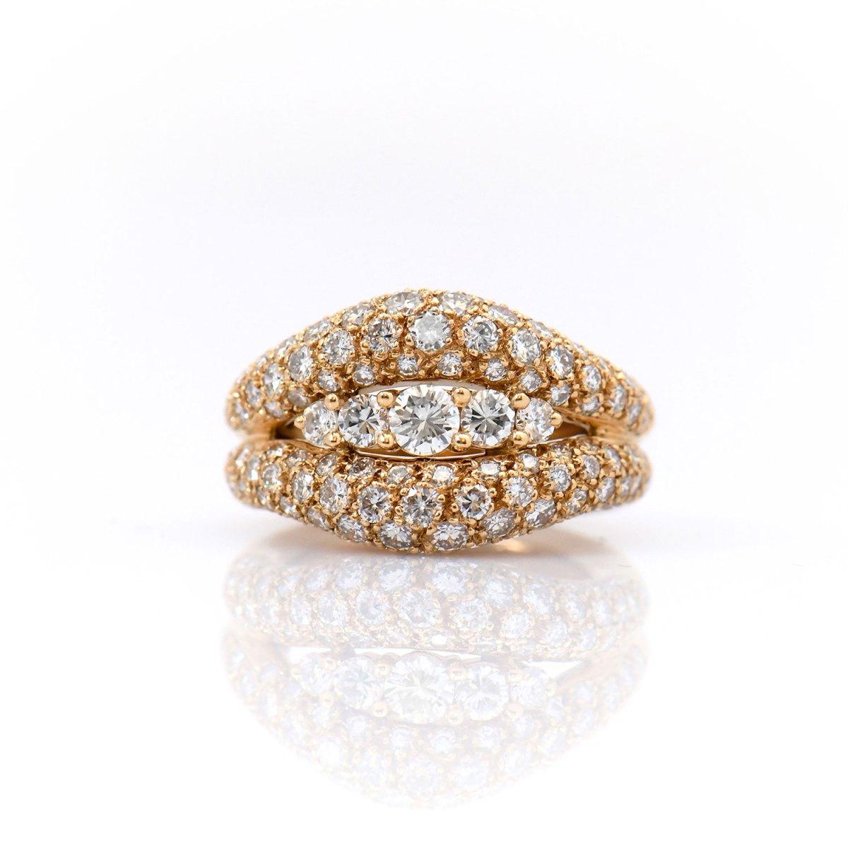 Bague Or jaune Diamants en pavage CHAUMET, Or jaune 750‰ | Réf BA-B18646 | EVENOR Joaillerie • Bijoux Vintage et d'occasion