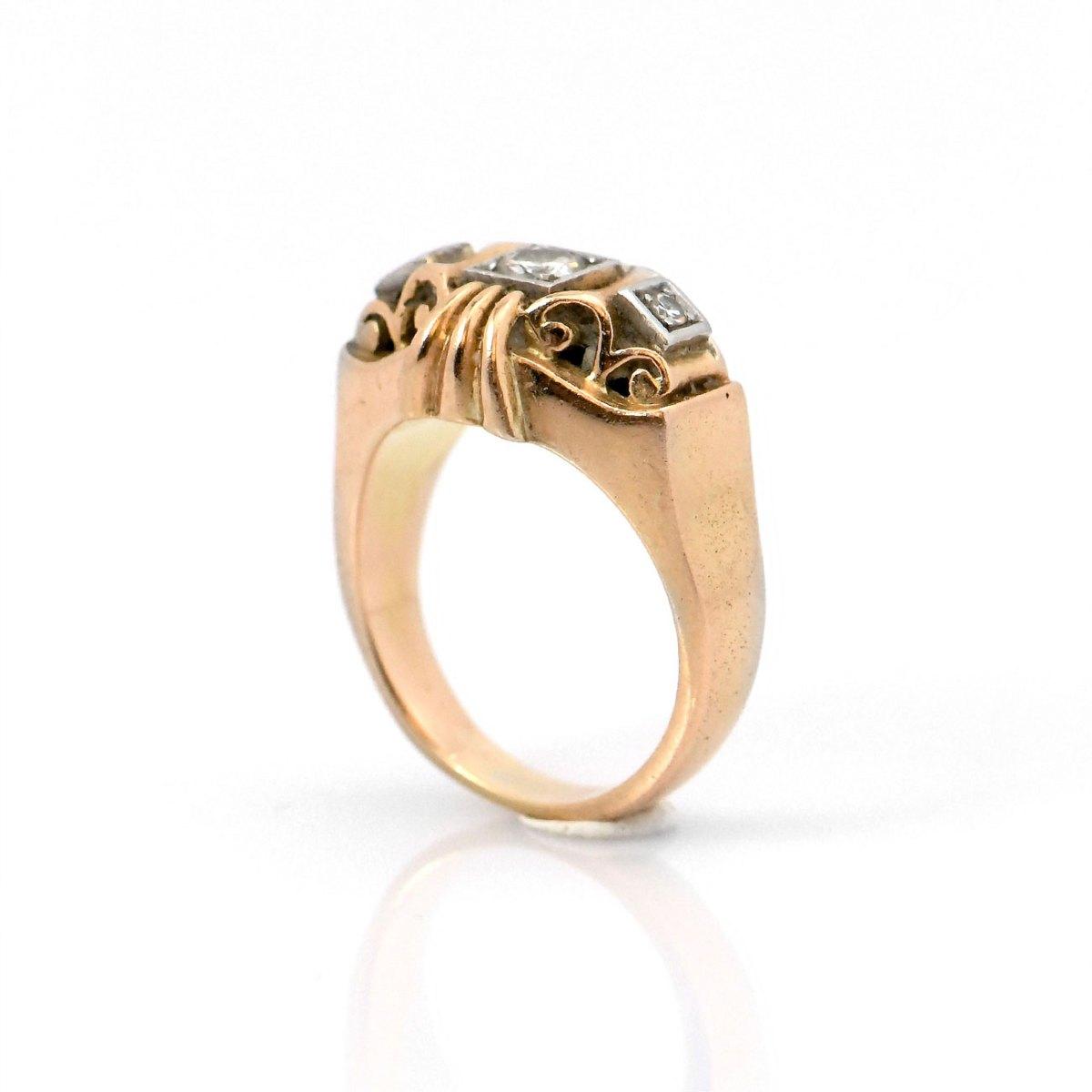 Bague diamants Art Déco, 0,28 ct, or jaune 750 ‰   Réf. BA-B18664   EVENOR Joaillerie • Bijoux neuf, bijoux Vintage, bijoux d'occasion