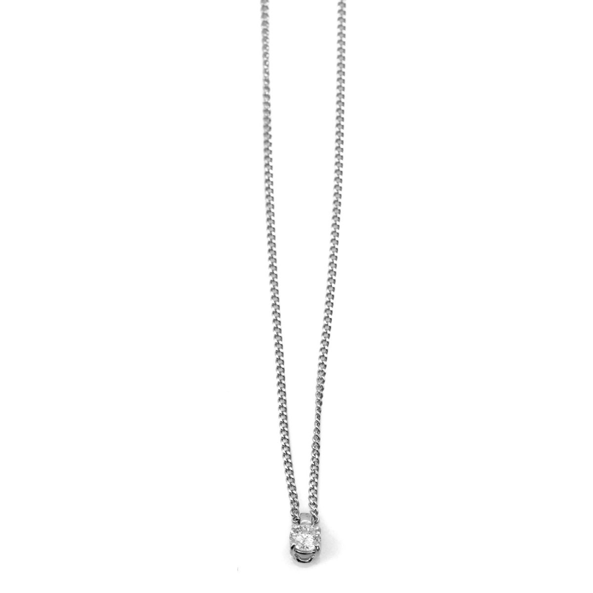 Pendentif diamant 0,43ct, monture or blanc, chaîne or blanc, Réf. PE+CH-A543 | EVENOR Joaillerie • Bijoux neufs • Bijoux Vintage