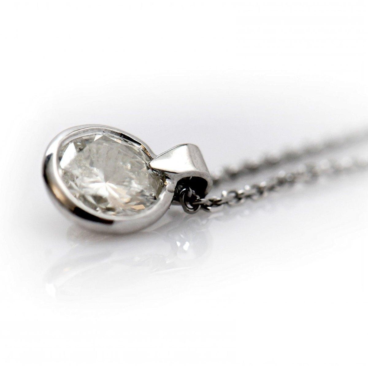 Solitaire Diamond Pendant, 1.12ct, chain, 18K white gold, ref. PE+CH-1548 | EVENOR Jewellery • Brand new and vintage jewellery
