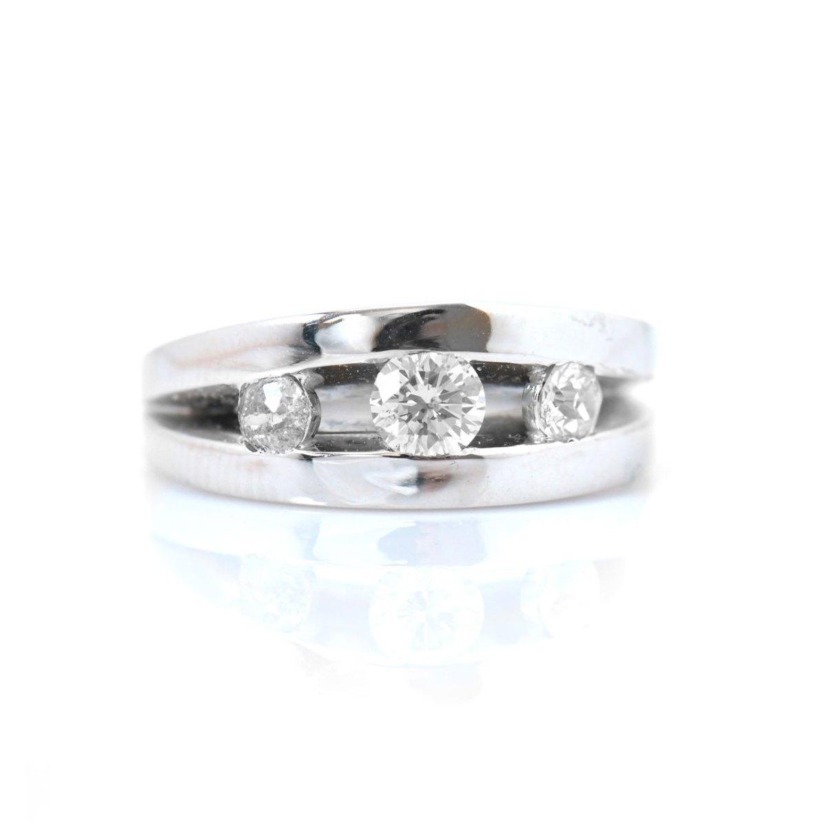 Bague 3 diamants 0,83ct sertis rail sur monture or blanc 750‰, Taille 54 | Réf. EVENOR Joaillerie • Bijoux Vintage et d'occasion