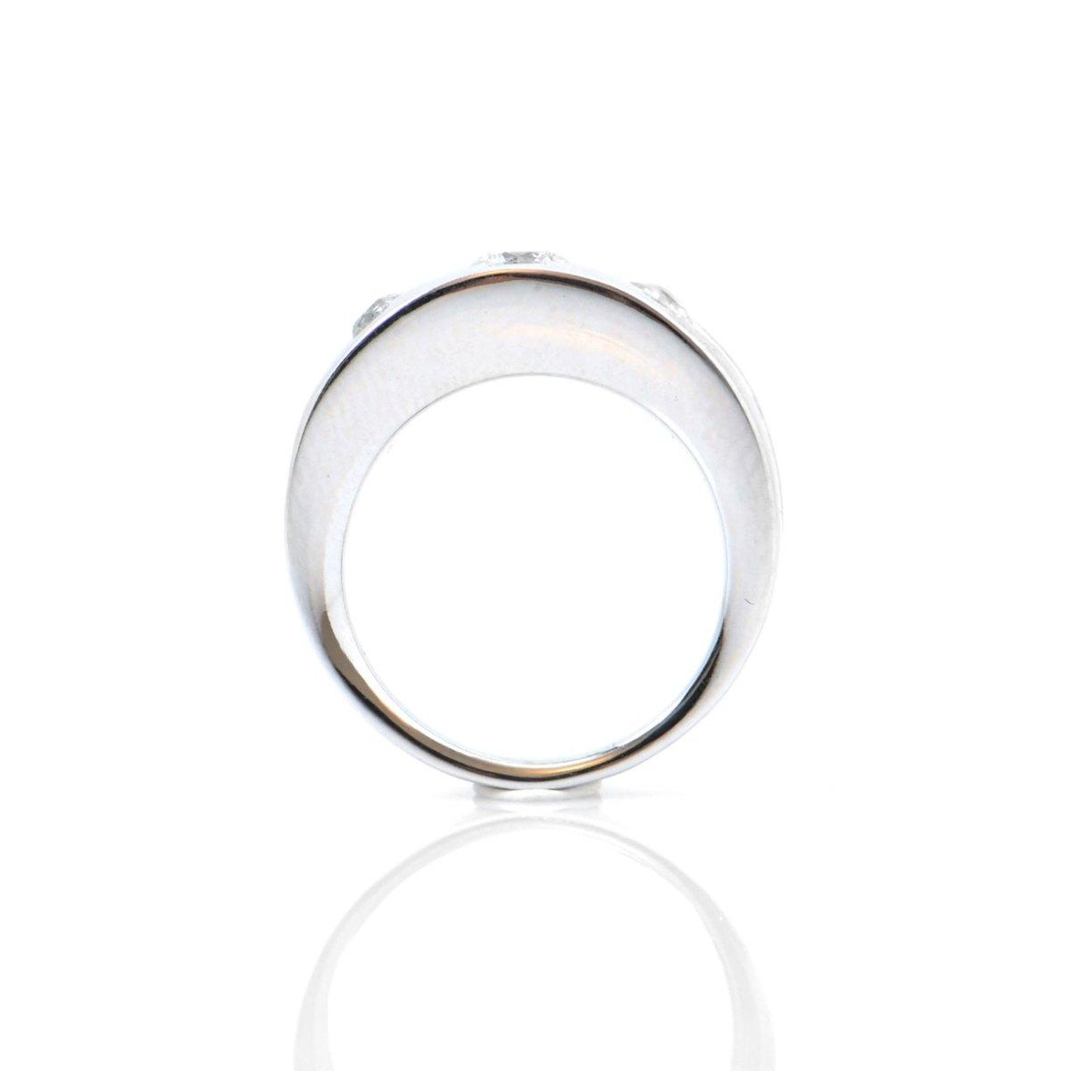 Bague Trilogie diamants 0,83ct sertis rail sur monture or blanc 750‰, Taille 54 | Réf. BA-B18215 | EVENOR Joaillerie • Bijoux Vintage et d'occasion