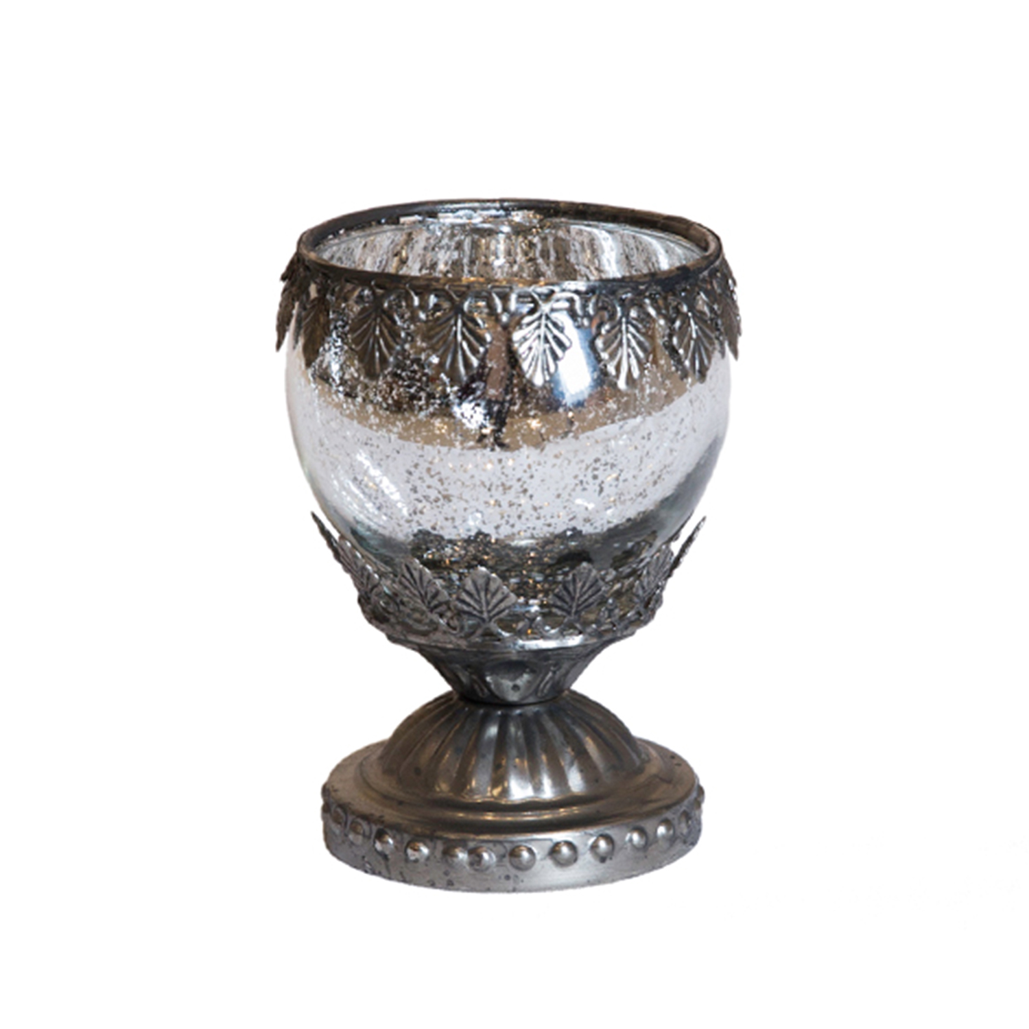 Leaf Engraved Gunmetal Candle Holder Votive On Pedestal