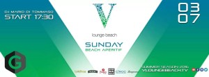 V Lounge Beach domenica 3 luglio Aperitivo Ostia + Beach Party free entry