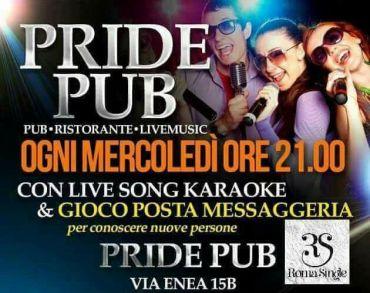 Pride Roma mercoledi 12 aprile cena musica giochi con Roma Single
