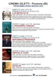 Programmazione aprile, maggio 2019 Cinema Giletti