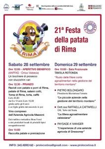 Festa della Patata Rima 2019 locandina