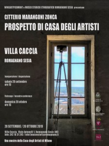 Prospetto di  Casa degli Artisti a Villa Caccia locandina mostra