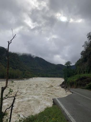 Alluvione 2020 Valsesia strada per Crevola