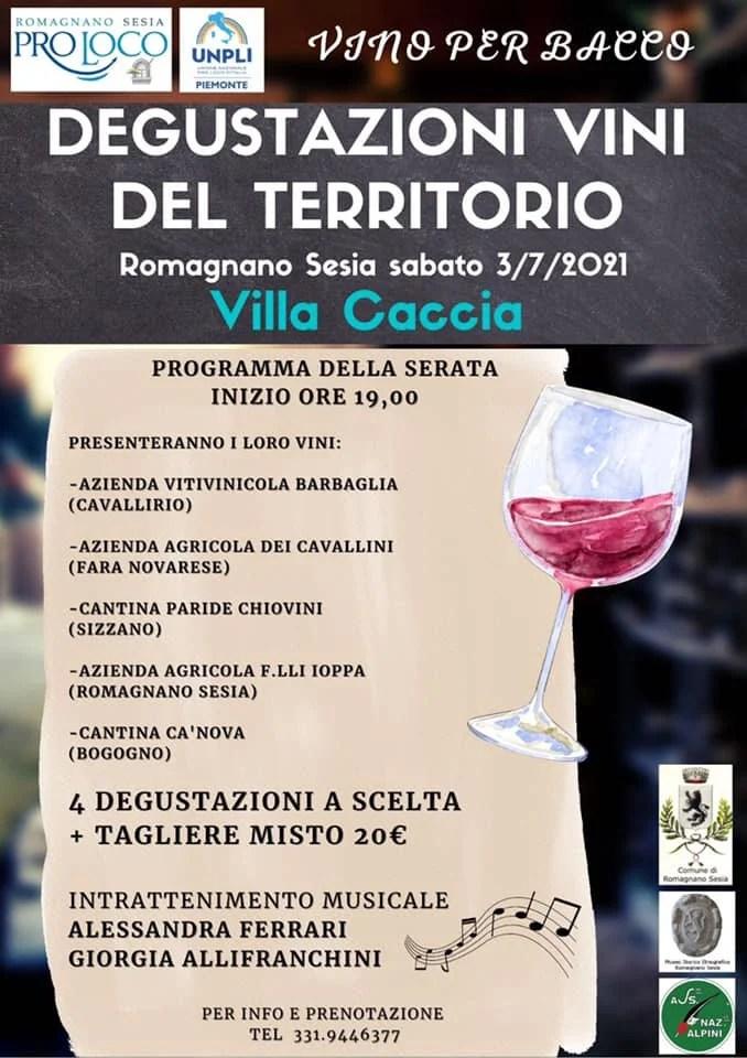 locandina degustazioni vino territorio Villa Caccia