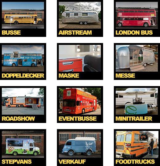 Eventmobile Köln Foodtruck, Busse, London Bus, Stepvan, Roadshow, Eventfahrzeuge, Messefahrzeuge, Messetrailer