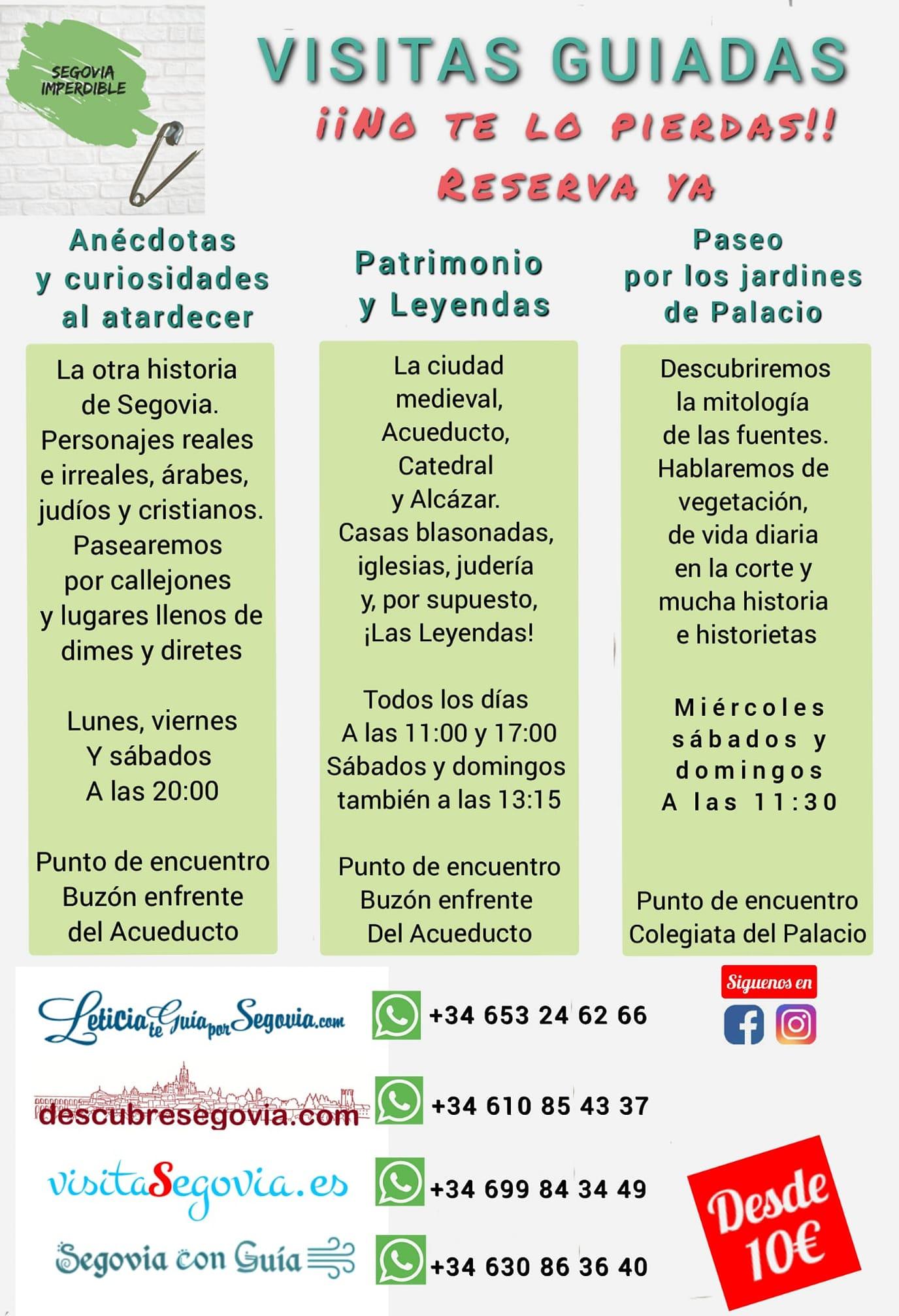 Visitas Segovia Imperdible verano 2020