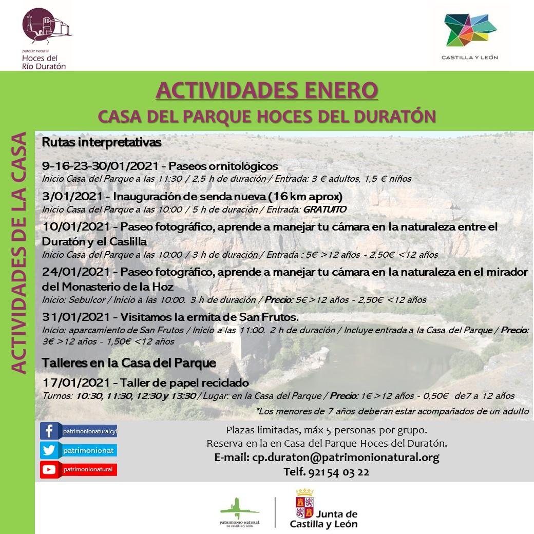 Actividades en enero en Casa del Parque de las Hoces del Río Duratón