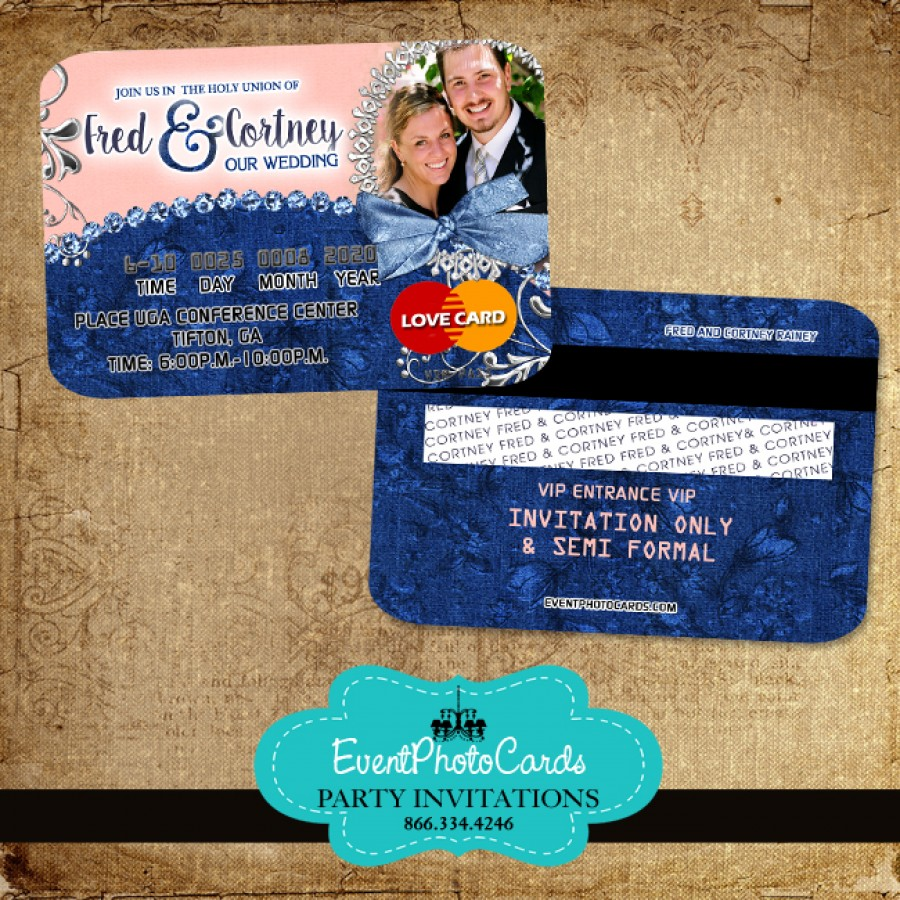 Denim Blush Wedding Invitations Credit Card Invites