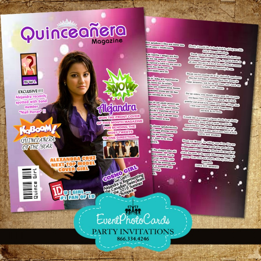 Magazine Cover Quinceanera Invite