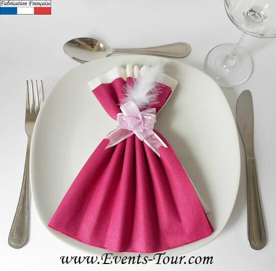 Pliage De Serviette Glamour Framboise Et Blanc X1 Ref 10060