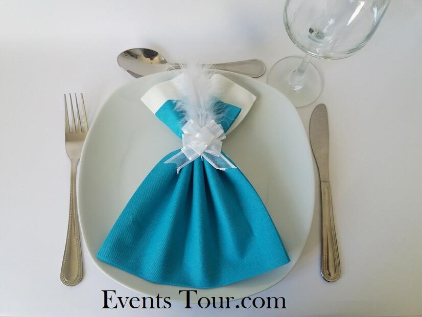 pliage de serviette airlaid glamour bleu turquoise et blanc x1 ref 10060