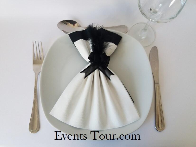 Pliage De Serviette Glamour Blanc Et Noir X1 Ref 10060