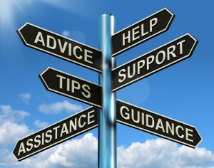 Event Assistance - Advice Help Support And Tips Signpost Showing Information And Guidance