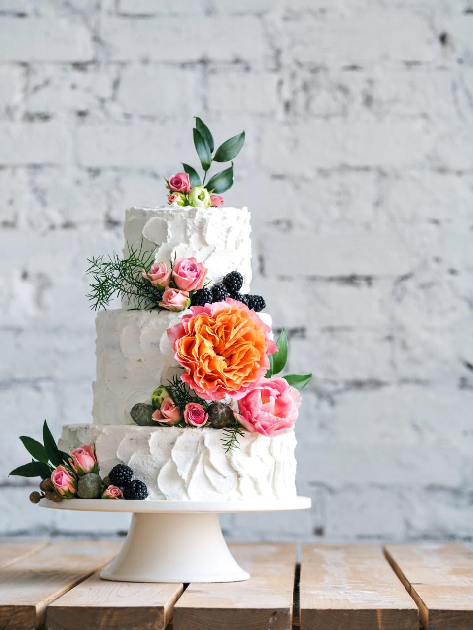 Vibrant Wedding Cake With Greenery