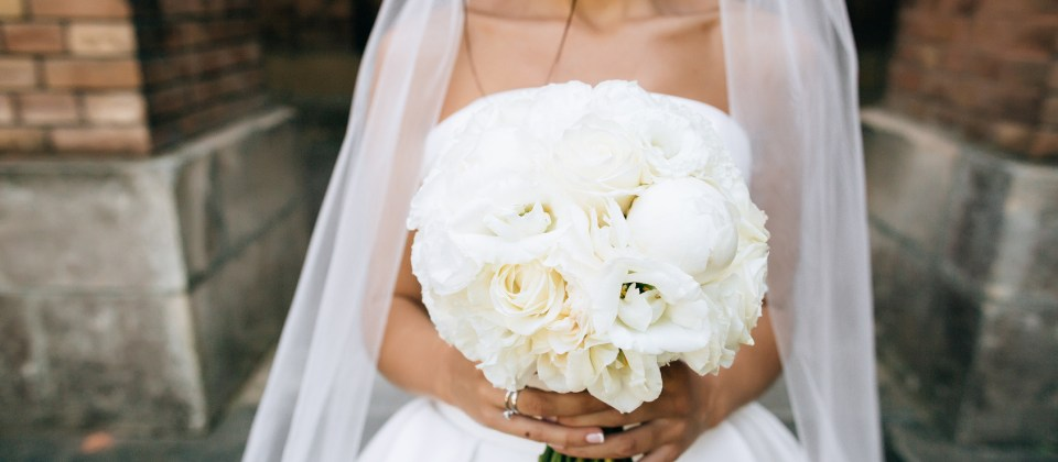White Wedding Bouquet Peonies and Roses