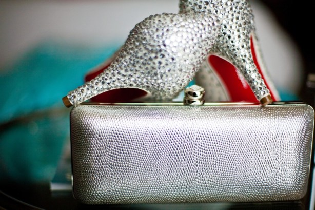 bling sparkle rhinestone wedding shoe with red sole and silver bride clutch