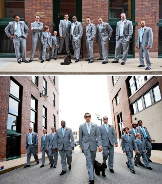 Gray groomsmen tuxedos cool city photos
