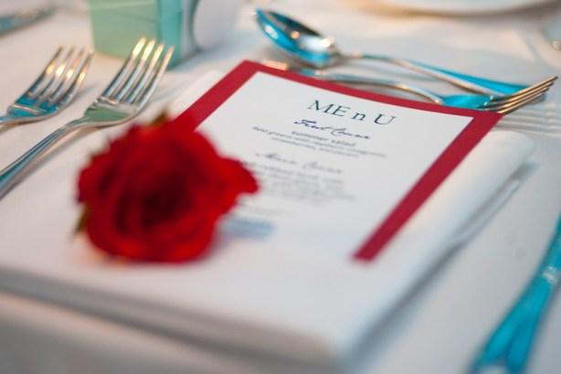 Wedding menu Me n U red and white