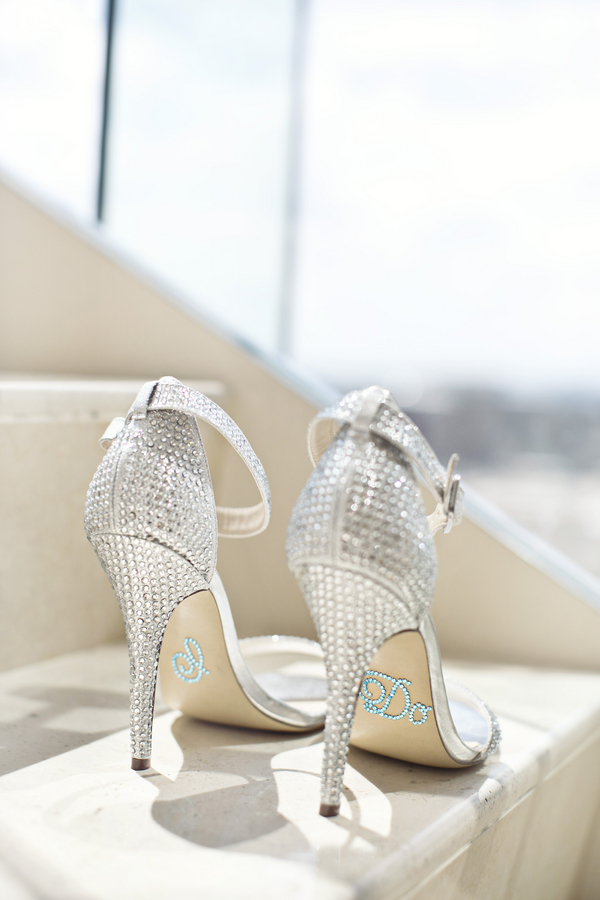 silver rhinestone diamond sparkle wedding shoes with I do