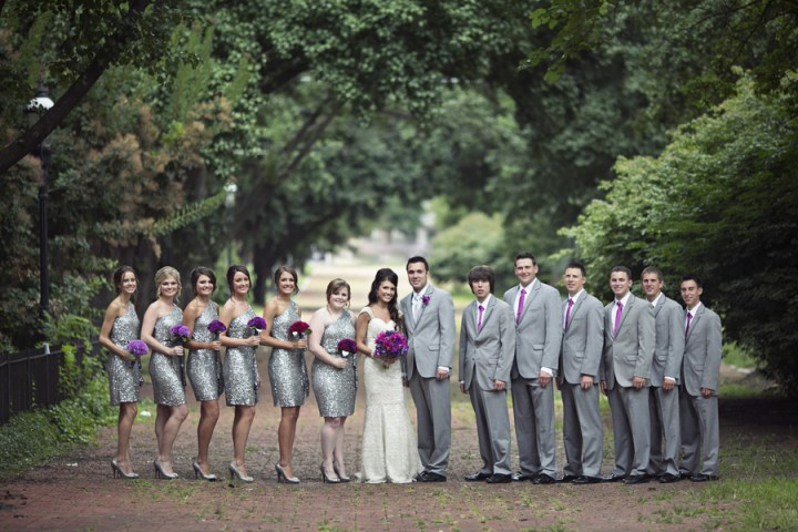 silver sequin bridesmaids ombre purple bouquets flowers carnations sparkle pink groomsmen wedding party
