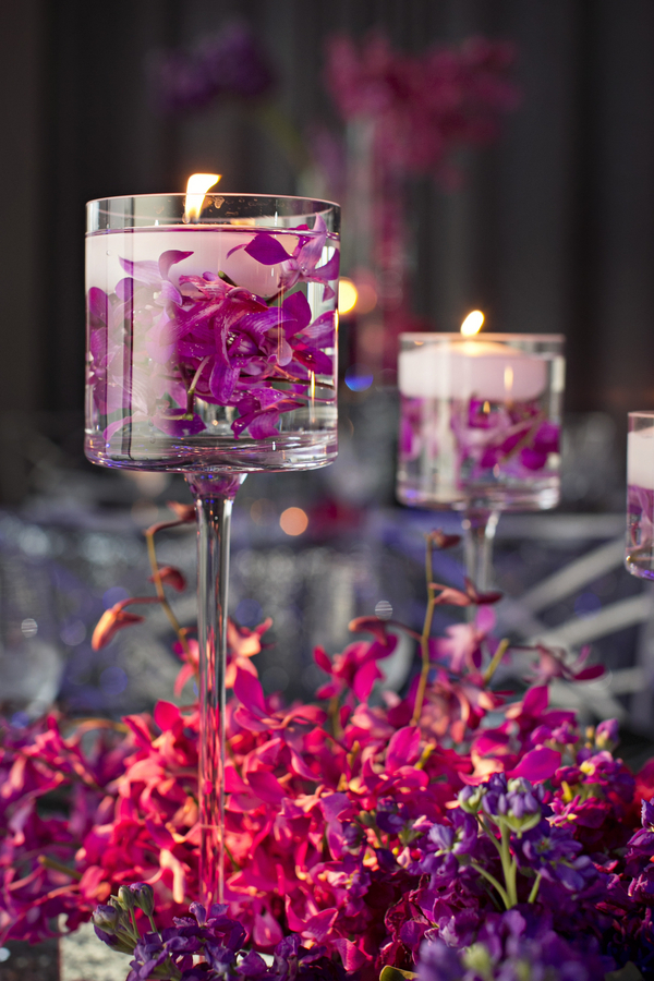 purple orchids submerged