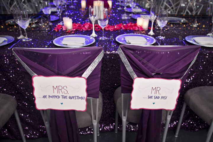 purple chiffon bride and groom chairs mrs and mrs sequins sparkle