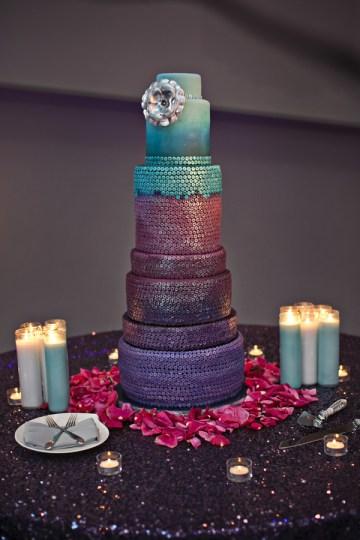Sequin wedding cake purple turquoise sparkle