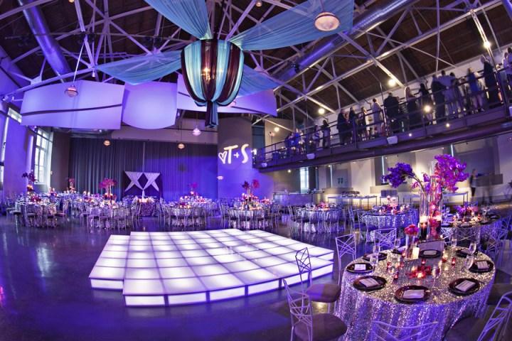 wedding reception purple blue turquoise plum light up dance floor acrylic sparkle sequins custom fabric chandelier