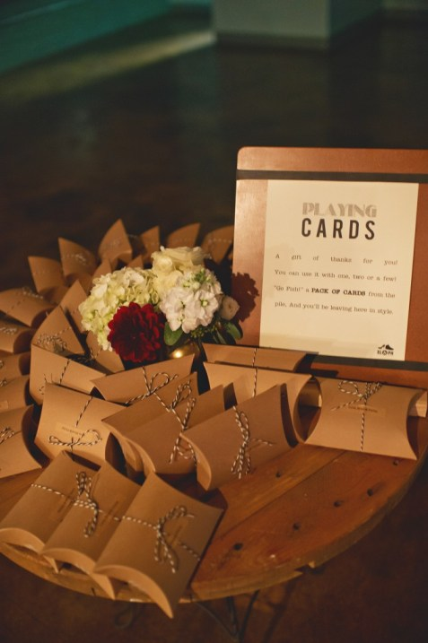 Playing cards packaged wedding favor table