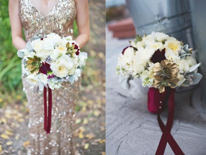 White bouquet dusty miller burgundy dahlias gold succulents and burgundy wrap