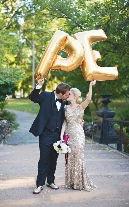 Gold letter balloons bride and groom