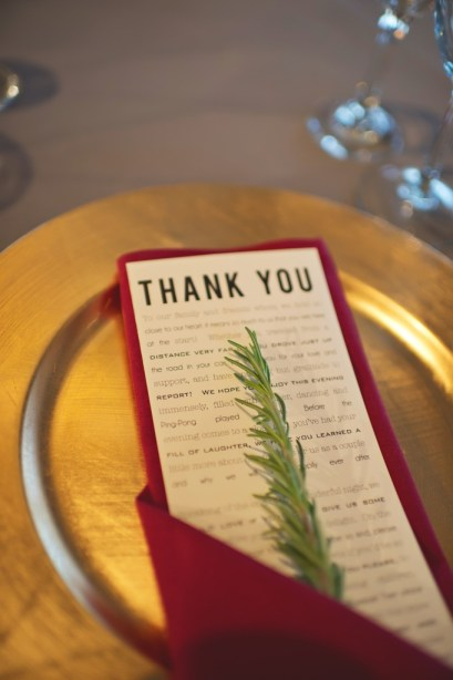 Thank You wedding napkin with rosemary on gold charger