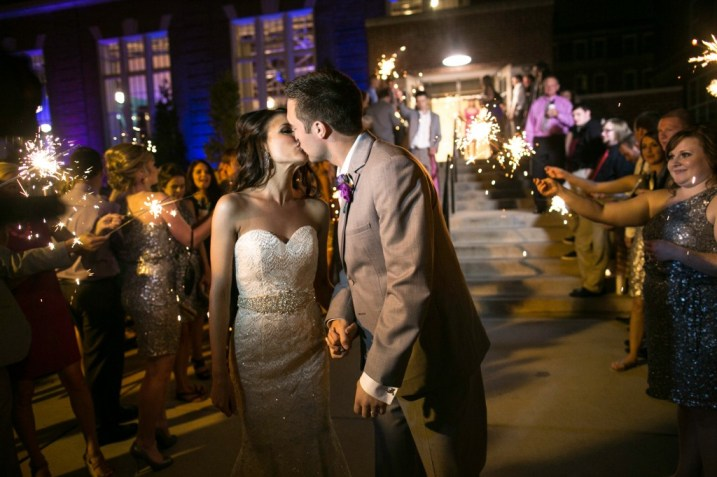 sparkler exit kiss bride and groom