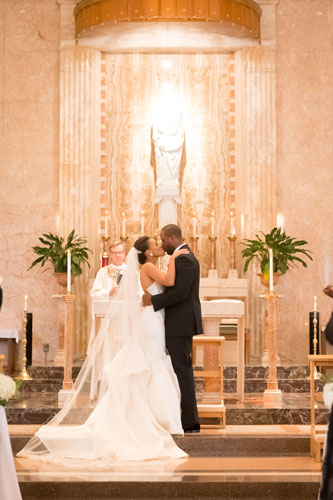 Bride & Groom at Our Lady of Pillar Wedding | Events Luxe Weddings