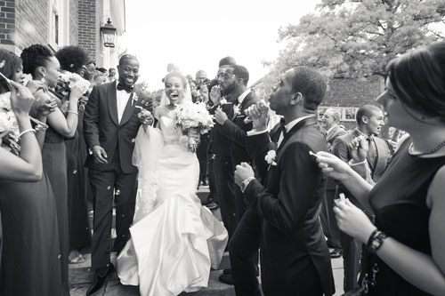 Bride & Groom outside Our Lady of Pillar | Events Luxe Weddings