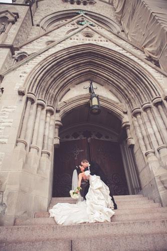 Bride & Groom at St Francis Xavier – SLU College Church | Events Luxe Weddings