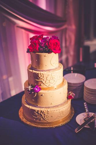 Magenta & Eggplant Wedding Cake | Events Luxe Weddings