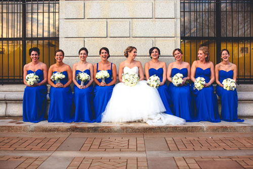 in front of the st. louis public library for a winter white wedding in St. Louis | Events Luxe Weddings
